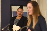 Suffolk County District Attorney Rachael Rollins And Seen Program Manager Beth Bouchard